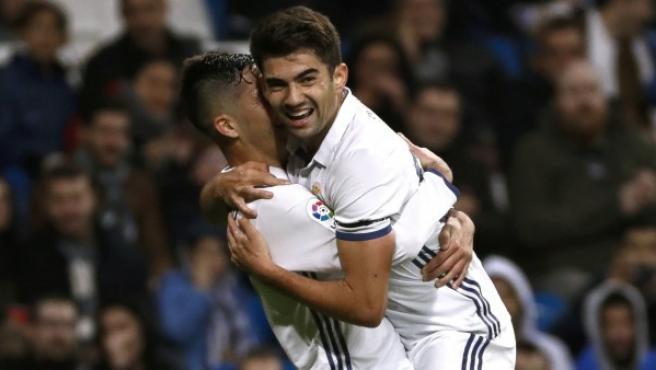 Enzo Zidane celebra el gol que marcó con el Real Madrid frente a la Cultural Leonesa.