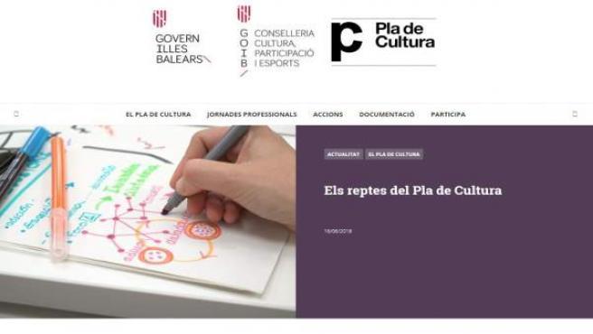 Web del Plan de Cultura de Baleares