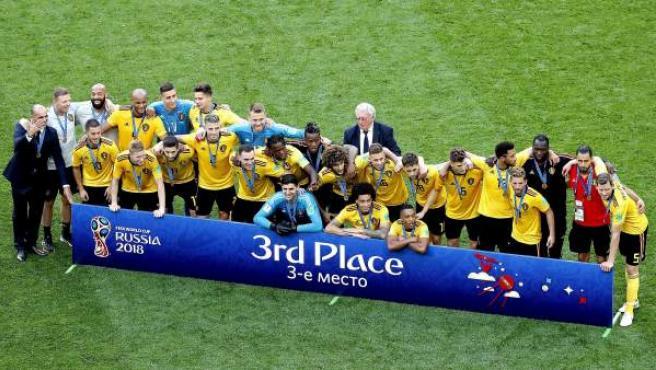 Los jugadores de Bélgica celebran su tercer puesto en el Mundial.