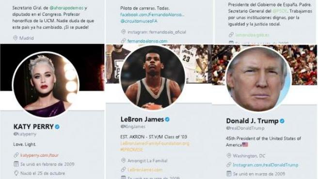 Algunas cuentas de Twitter con numerosos seguidores.