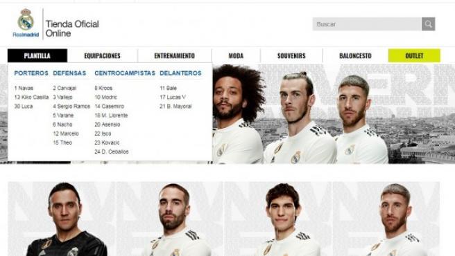 Captura de la tienda oficial del Real Madrid.