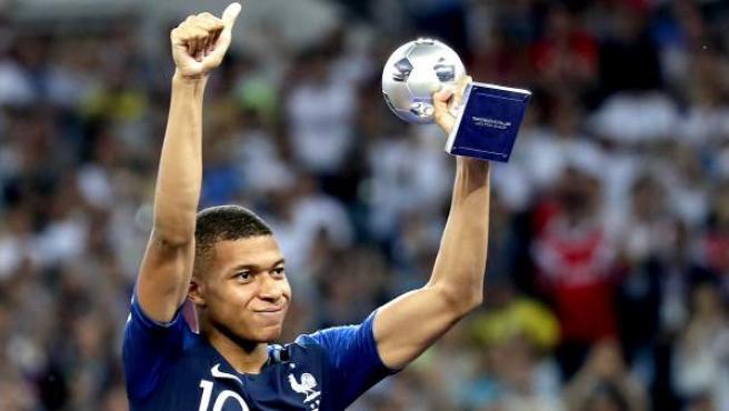 Mbappé, elegido mejor jugador joven del Mundial de Rusia 2018.