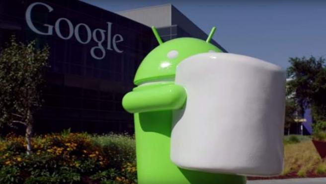 El logotipo de Android Marshmallow, frente a las oficinas de Google.