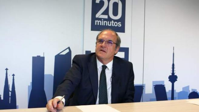El portavoz del PSOE en la Asamblea de Madrid, Ángel Gabilondo, durante su entrevista con 20minutos.