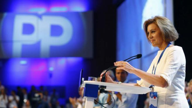 La exministra de Defensa, María Dolores de Cospedal, en su discurso durante el Congreso Nacional del PP.