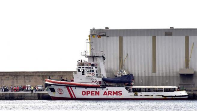 Vista de uno de los dos barcos de la Organización de Salvamento Open Arms en el puerto de Palma.