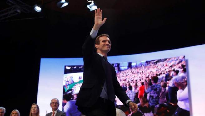 El candidato a la Presidencia del PP, Pablo Casado, momentos antes de su intervención en el XIX Congreso del partido.