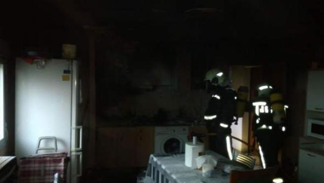 Incendio en un domicilio de Burlada.