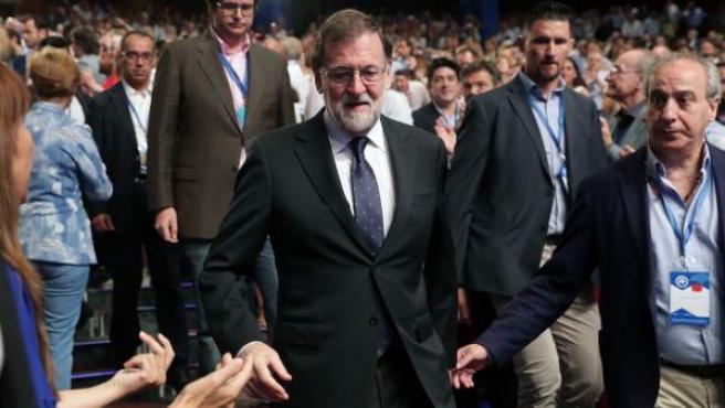 El presidente saliente del PP, Mariano Rajoy, a su llegada al XIX Congreso del partido.