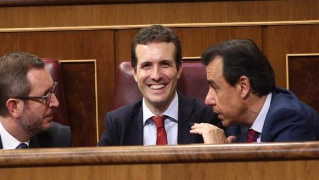 Javier Maroto, Pablo Casado y Fernando Martínez Maillo