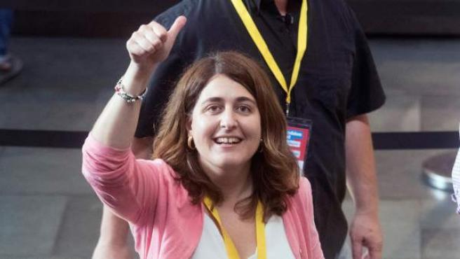 La coordinadora general del PDeCat, Marta Pascal, durante la segunda jornada de la Asamblea Nacional de la formación.
