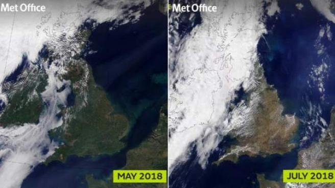 Imágenes por satélite que muestran la pérdida de vegetación en Reino Unido.