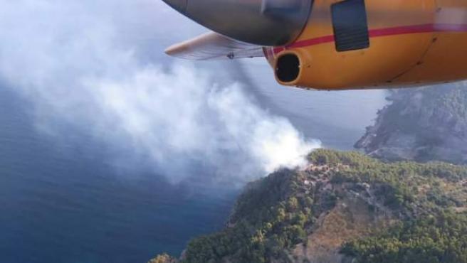 Los bomberos trabajan para extinguir el incendio en cala Estellencs.