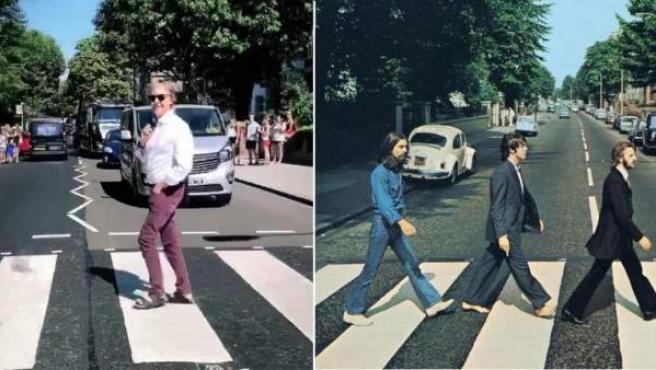 Paul McCartney, cruzando el mítico paso de cebra de Abbey Road.