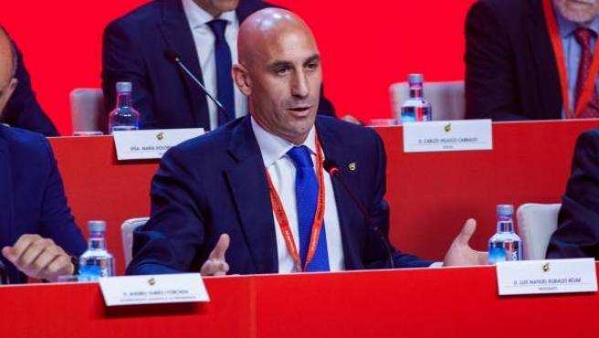 Luis Rubiales, presidente de la RFEF durante la Asamblea General.