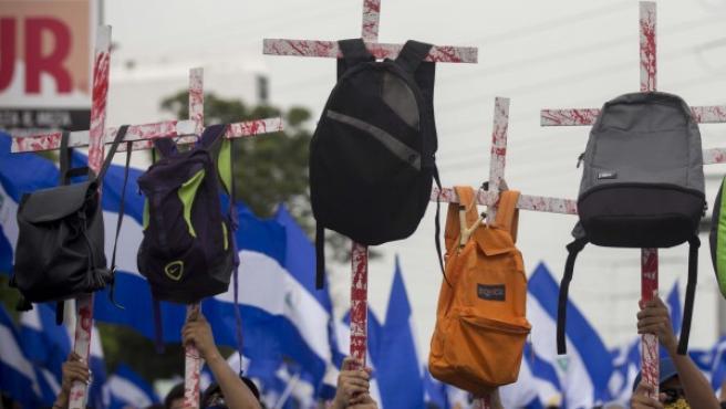 Imagen de la marcha en Nicaragua en apoyo a estudiantes y de rechazo a Ortega.