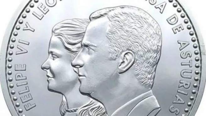 La moneda con la imagen de la princesa de Asturias.