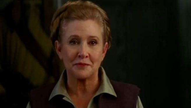 Carrie Fisher como la princesa Leia en la octava entrega de la saga de 'Star Wars'.