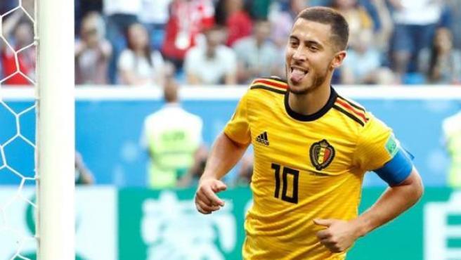 Eden Hazard, con la camiseta de Bélgica en el Mundial de Rusia.