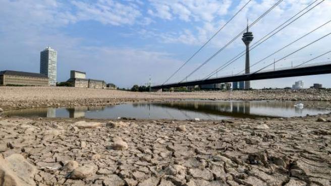Vista general del cauce seco del río Rin en Duesseldorf (Alemania).