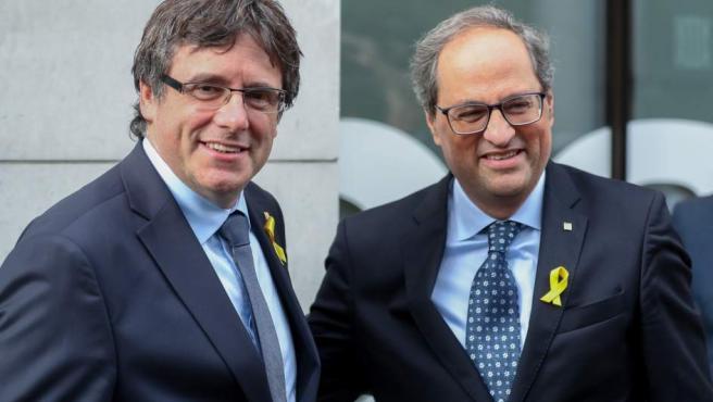 El expresident de Cataluña, Carles Puigdemont y el actual president, Quim Torra en Bruselas.