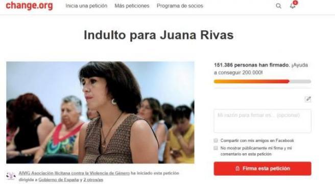 Petición que solicita el indulto para Juana Rivas