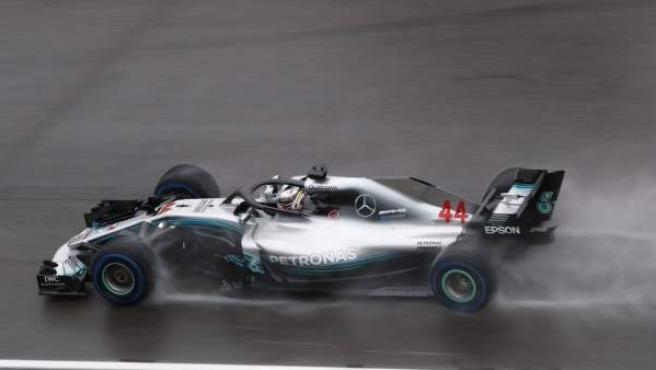 Lewis Hamilton, durante la clasificación del GP de Hungría de Fórmula 1.