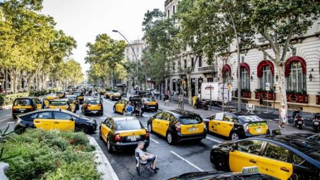 Huelga de taxis en Barcelona. Taxistas acampados.