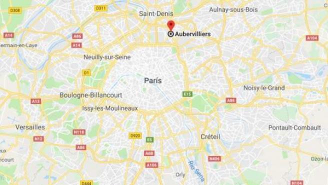 Localización de Aubervilliers, al norte de París, en Francia.