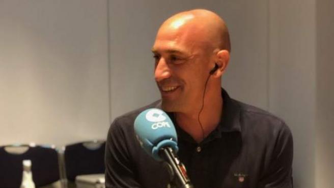 Luis Rubiales, presidente de la RFEF, durante una entrevista en la Cadena COPE.