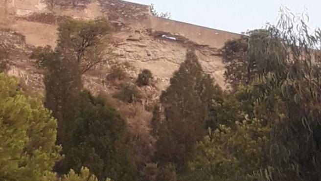 Zona afectada por la pasarela de La Ereta