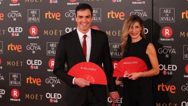 El secretario general del PSOE, Pedro Sánchez y su mujer, Begoña Gómez.