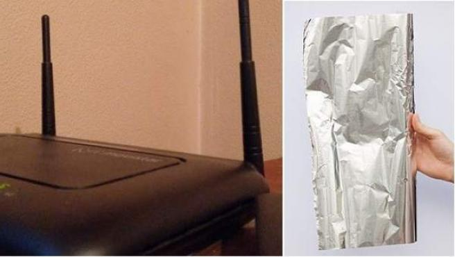 Un router y una hoja de papel de aluminio.