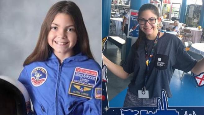 Alyssa Carson, en una imagen de 2014 y otra actual.