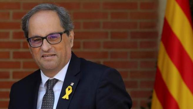 El president de la Generalitat Quim Torra, antes de la reunión con el presidente del gobierno Pedro Sánchez.