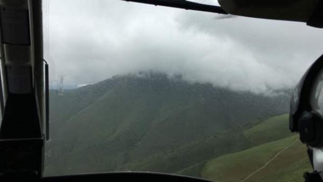 Vistas de la zona desde el helicóptero del 112