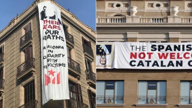 Imagen que muestra las dos pancartas que se han colocado en contra del rey Felipe VI en Barcelona.