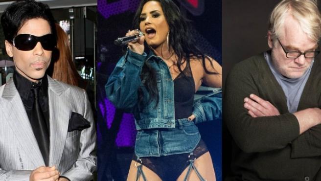 Cory Monteith, Prince, Demi Lovato y Philip Seymour Hoffman.