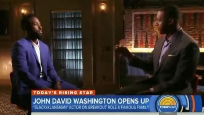 John David Washington, en una entrevista en la MSNBC.
