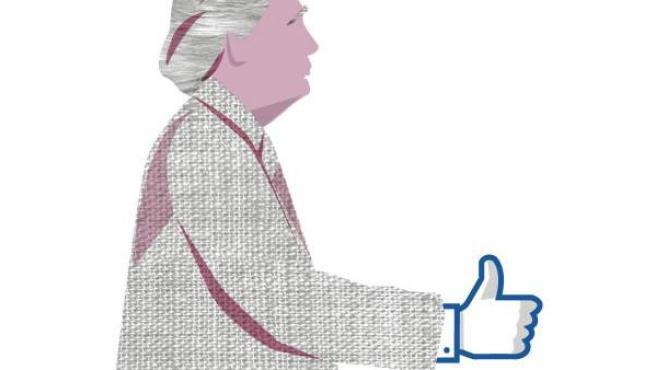 Una silueta de Donald Trump saluda con el dedo hacia arriba de Facebook.