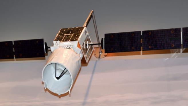 Maqueta del satélite Aeolus de la Agencia Espacial Europea (ESA).