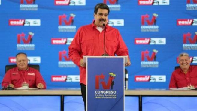 El presidente de Venezuela, Nicolás Maduro, durante el IV Congreso del Partido Socialista Unido de Venezuela (PSUV), en Caracas.