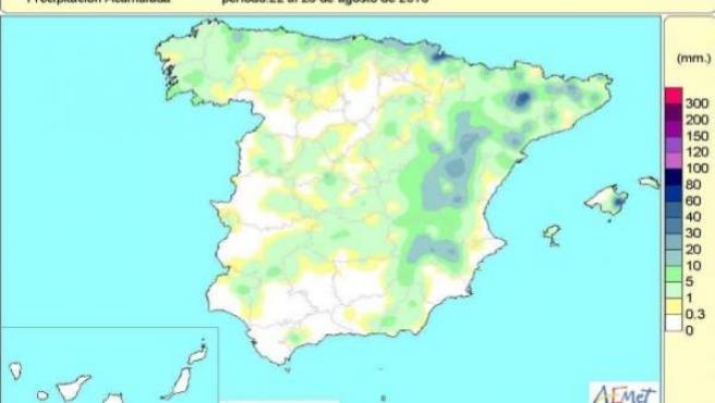 Las lluvias acumuladas en el año hidrológico hasta el 28 de agosto continúan un
