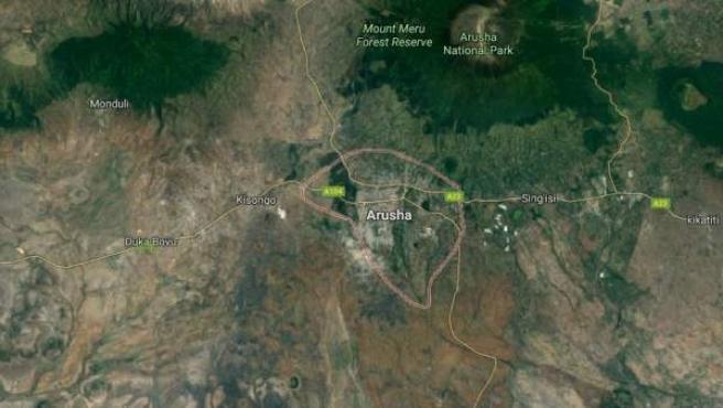 Región de Arusha, al norte de Tanzania, donde ocurrió el accidente.
