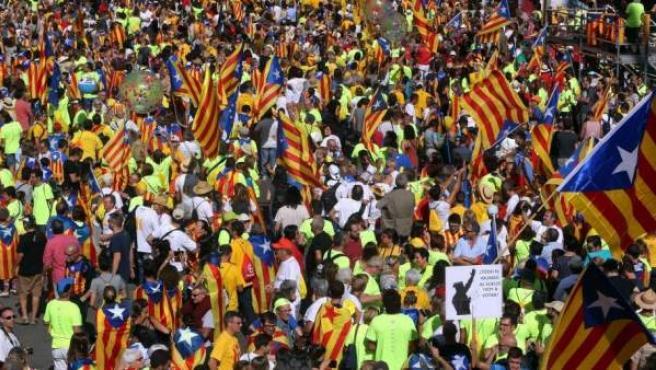 Imagen de la manifestación convocada con motivo de la Diada 2017.