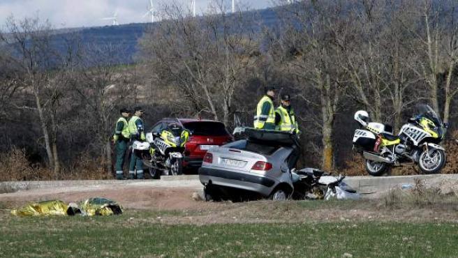 Imagen de un accidente de tráfico en Matalebreras, Soria.