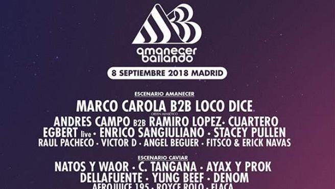 Cartel del festival 'Amanecer Bailando', que se celebrará en Móstoles.