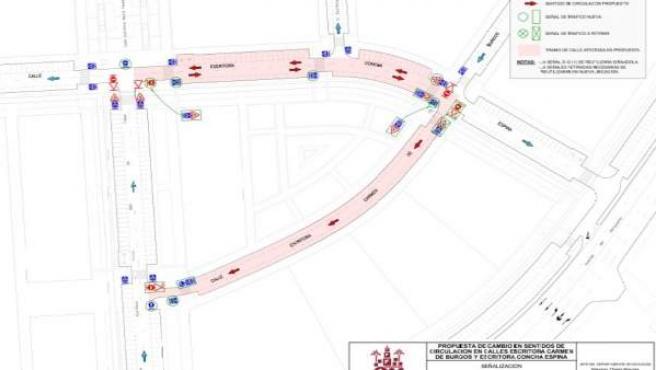 Plano con el cambio de sentido en el tráfico junto al Quirónsalud