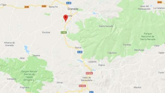 Localización de Alhendín, en Granada
