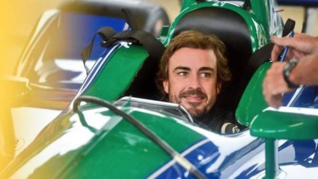 Fernando Alonso, durante el test que realizó en el Barber Motorsport Park con Andretti Autosport.